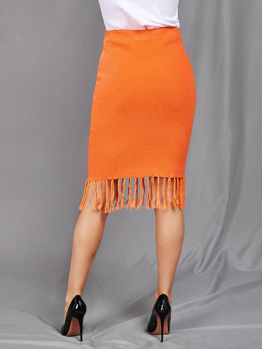 Orange Solid Color Midi Skirt Tassel Hem On-Trend Fashion