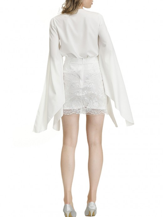 Fabulous White 2 Pieces Cape Sleeves Top Lace Skirt Comfort Women