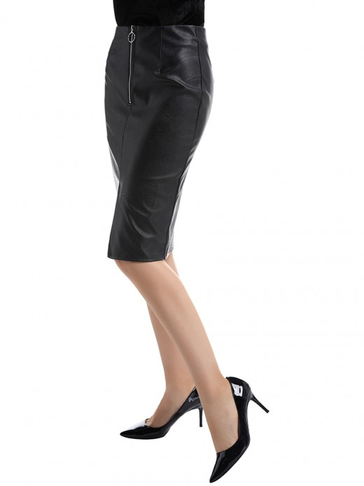 Loose Fitting Black Midi Skirt Slit Zipper Pu Leather For Work