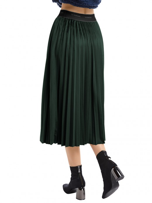 Ultimate Comfort Green Maix Skirt High Rise Ruched Trim Smooth