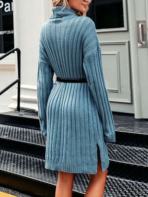 Intriguing Blue Long Sleeve High Neck Sweater Dress Sensual Curves
