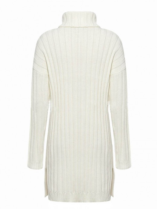 Captivating White Side Slit Sweater Dress Solid Color Female Charm