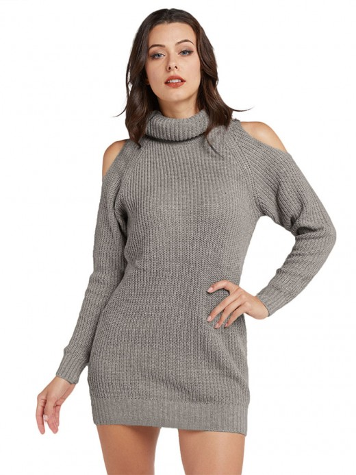 Sparkly Gray Long Sleeve Sweater Dress Mini Length Lady Dress