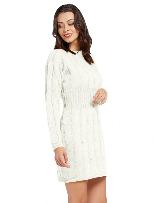 Enchanting White Long Sleeve Crew Neck Sweater Dress Ladies Elegance