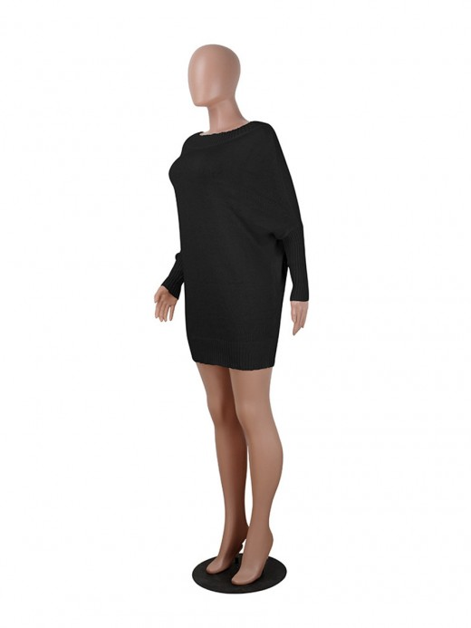 Sheerly Black Solid Color Full Sleeve Sweater Dress Natural Fit