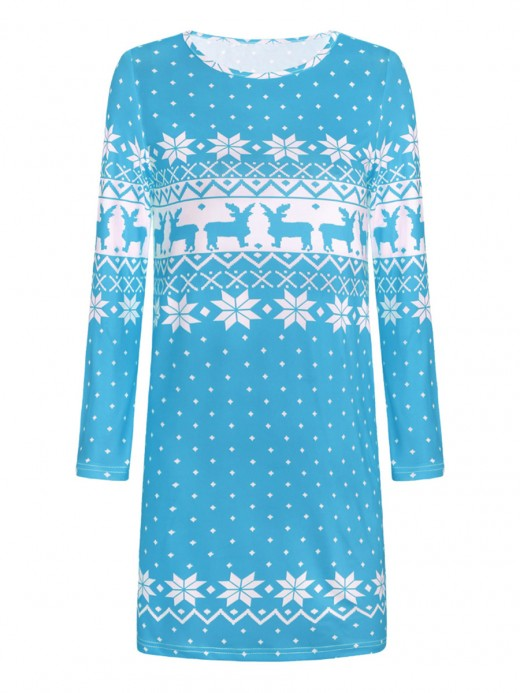 Light Blue Sweater Dress Christmas Paint Crew Neck Natural Outfit