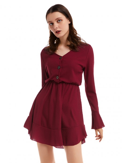Hot Stuff Red Ruffle Hem Button Front Sweater Dress Going Out Outfits