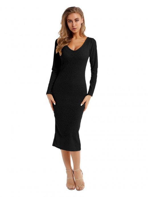 Nicely Black Full Sleeve Maxi Length Sweater Dress Fashion