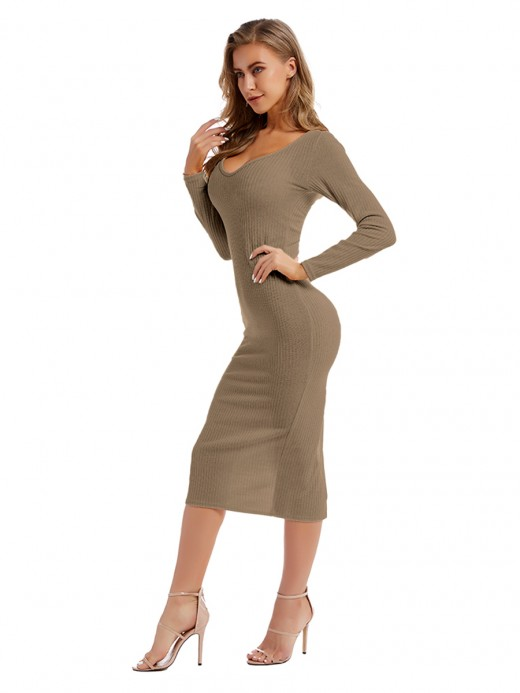 Eye Catch Light Coffee Color Plunge Neck Slit Sweater Dress Casual