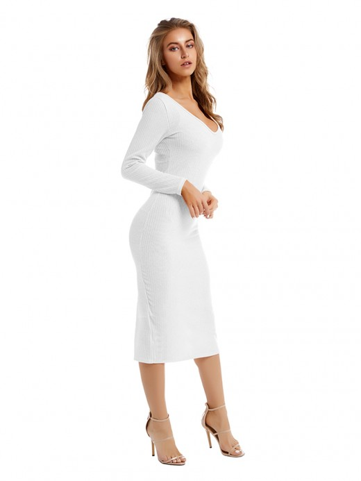 Super Sexy White Sweater Dress Solid Color Long Sleeve Comfort