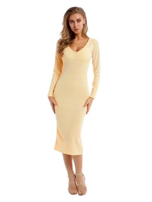 Luscious Off-White Plunge Collar Sweater Dress Slit Feminine Charm