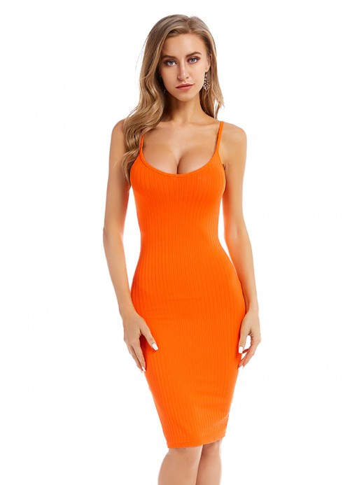Naughty Orange Strap Sweater Dress Solid Color Understated Design