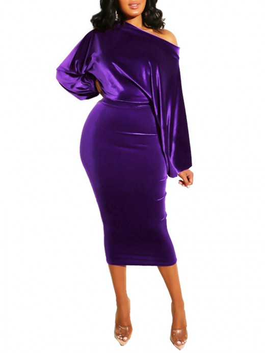 Fresh Deep Purple Slanted Shoulder Plain Bodycon Dress Charming Fashion