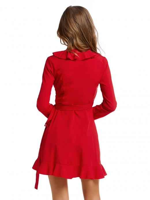 Pullover Red Waist Tie Mini Dress Cross V Neck For Outdoor