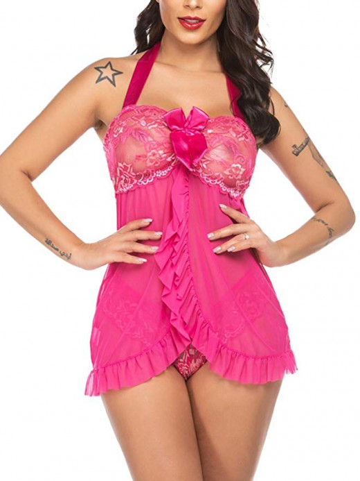 Shimmery Rose Red Mini Length Babydoll Open Back Lace Exotic Girls