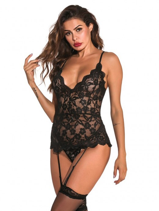 Comfortable Black Lace Bodystocking Cross Back Straps