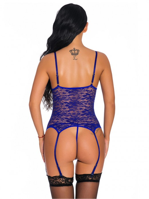 Irresistible Blue Open Back Bodystocking Slender Strap