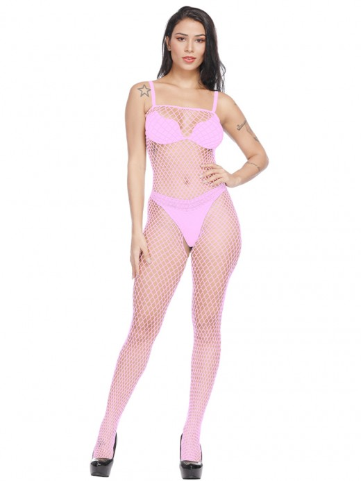 Super Faddish Pink Eyelet Strap Bodystocking Open Crotch For Upscale