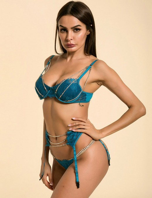 Dramatic Blue Bralette Set Lace Diamond Slender Strap Best Materials