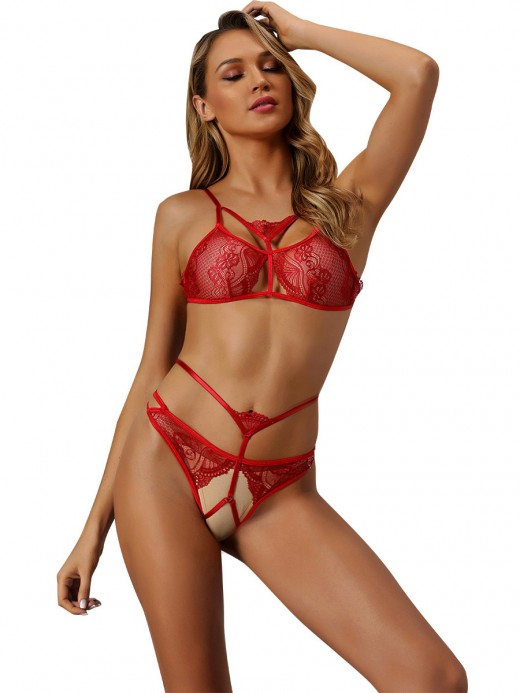 Lovely Red Hollow Out Slender Strap Lace Bralette Midnight Honeymoon