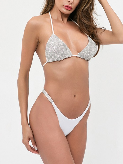 Exotic White Halter Neck Bling Bralette Two-Piece Allover Slim