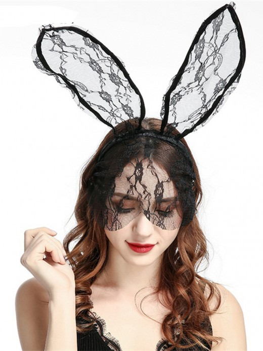 Classy Black Rabbit Ear Veil Sheer Mesh Lace Fashion Online For Cutie