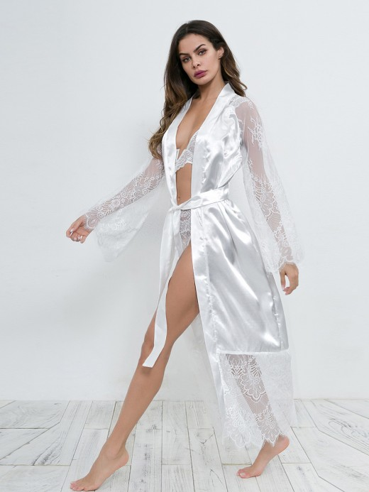 Voluptuous White Lace Trim Waist Tie Bedgown Cardigan Soft Touch