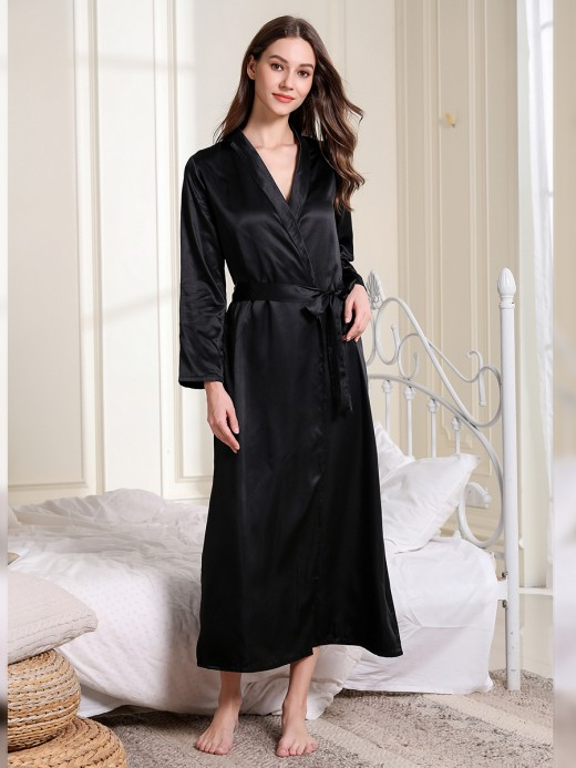 Sale Online Black Waist Knot Full Sleeve Maxi Bedgown High Grade