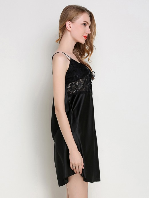 Fashion Fantasies Black Sleepwear Adjustable Strap Solid Color