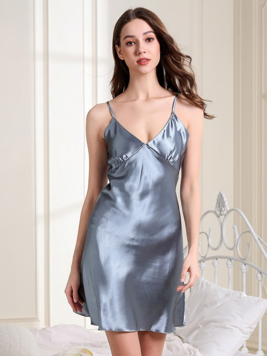 Sultry Gray Solid Color V Collar Sleepwear Images On Pinterest