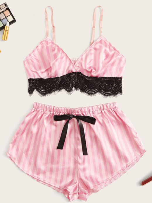 Stretch Pink Stripe Paint Sleepwear Set Plunge Collar Stunning Style