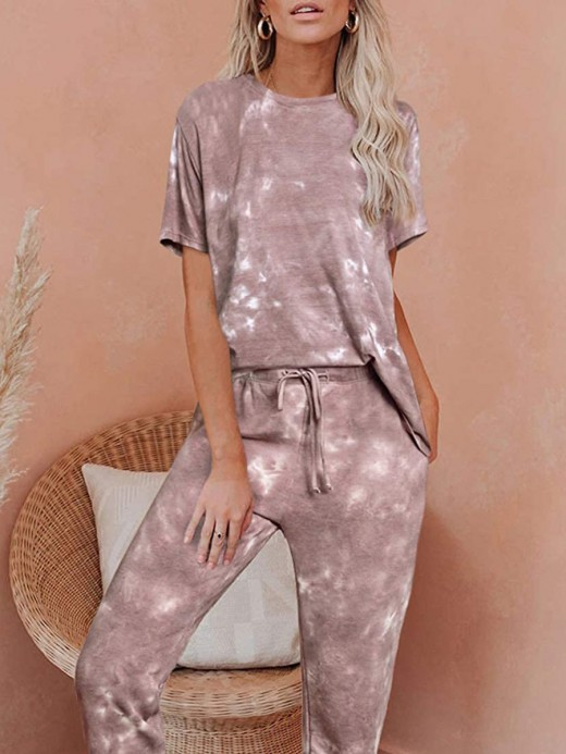 Enchanting Tie-Dyed Print Long Pants Pajamas Set Distinctive Look