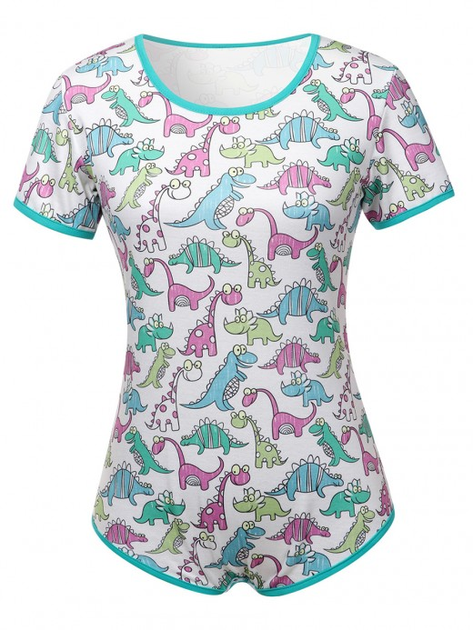 Princess White Teddy High Cut Dinosaur Pattern For Bedtime