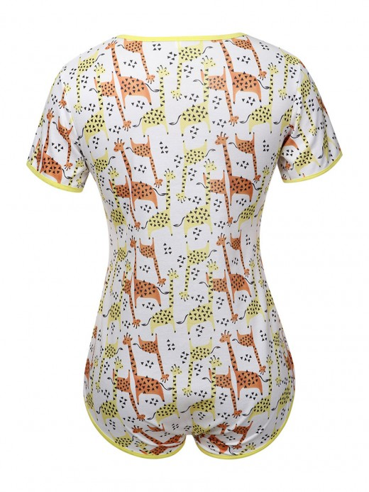 Intrigued White Giraffe Print Short Sleeve Teddy Elastic Material