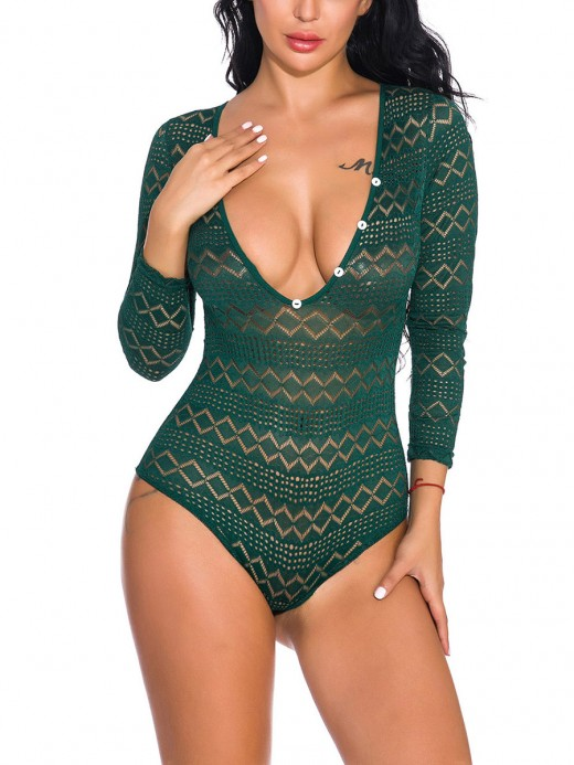 Starry Green Deep-V Neck High Stretch Teddy For Woman Fashion Online