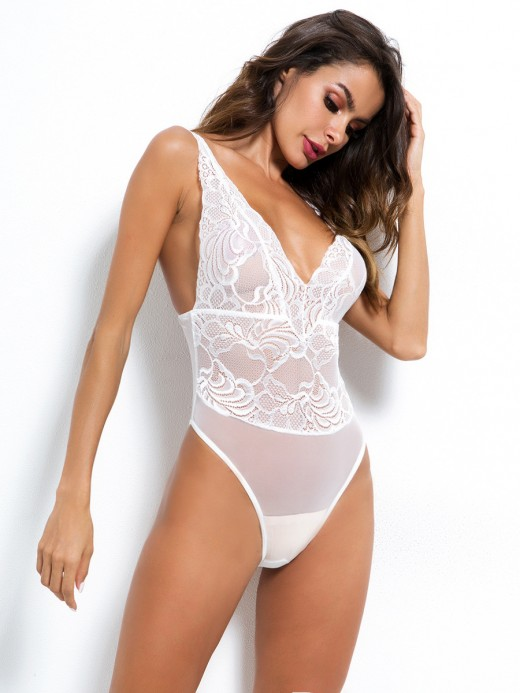 Enjoy White Sheer Mech Deep-V Spaghetti Straps Teddy Gentle Fabric