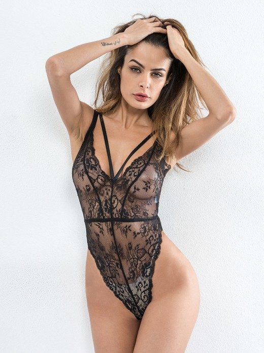 Dishy Black Strappy Plunge Collar Lace Stitching Teddy Slimming