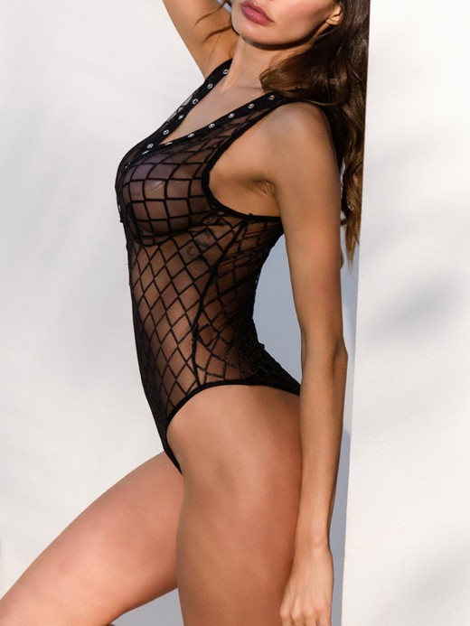 Lady Black Fishnet Teddy Tie Lace-Up Plunging Neck For Dreamgirl