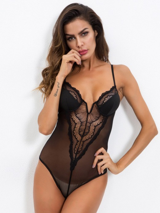 Daring Black Perspective Mesh Lace Stitching Teddy Supper Fashion