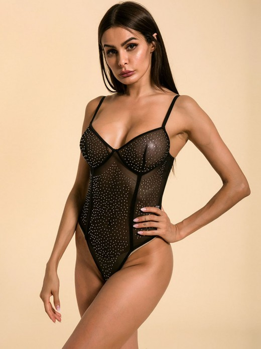 Seductress Black Rhinestone Sheer Mesh Perspective Teddy Distinctive Look