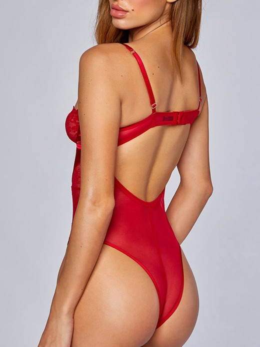 Red Cut out Lace Stitching Teddy Backless All Over Modern Fit