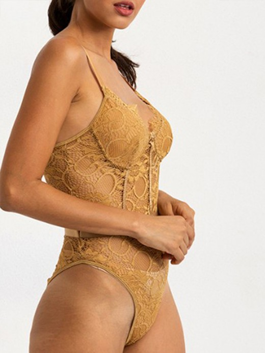 Gothic Khaki See-Through Lace Sling Tight Teddy Top Quality