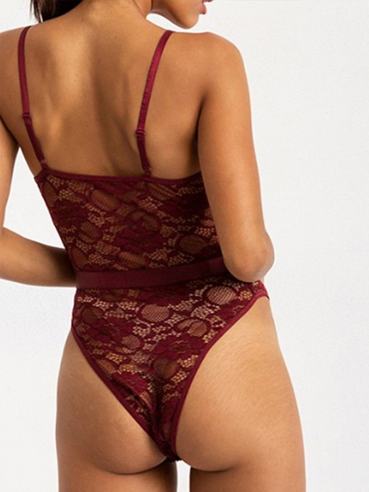 Lightweight Wine Red Lace Stitching Adjustable Sling Teddy