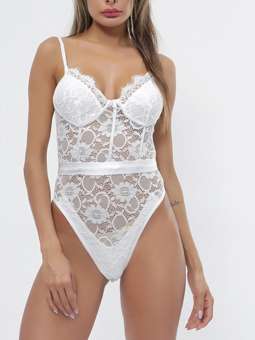 Sultry White Adjustable Straps Teddies Lace Mesh Ultra Cheap