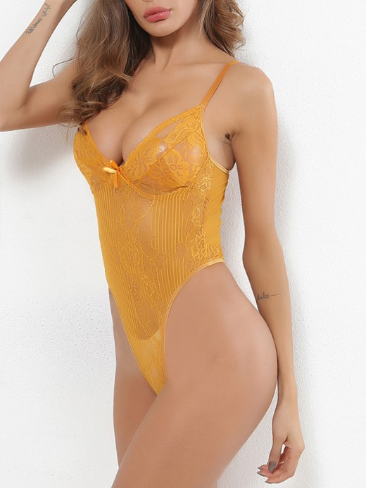 Magic Yellow Solid Color Teddy Plunge Collar Honeymoon Midnight