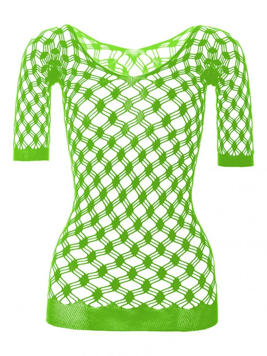 See Through Green Backless Hollow Off Shoulder Teddy Hot Trend