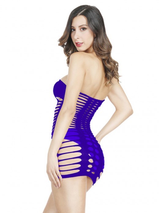 Fine Purple Hip Length Hollow High Stretch Teddy For Bedtime