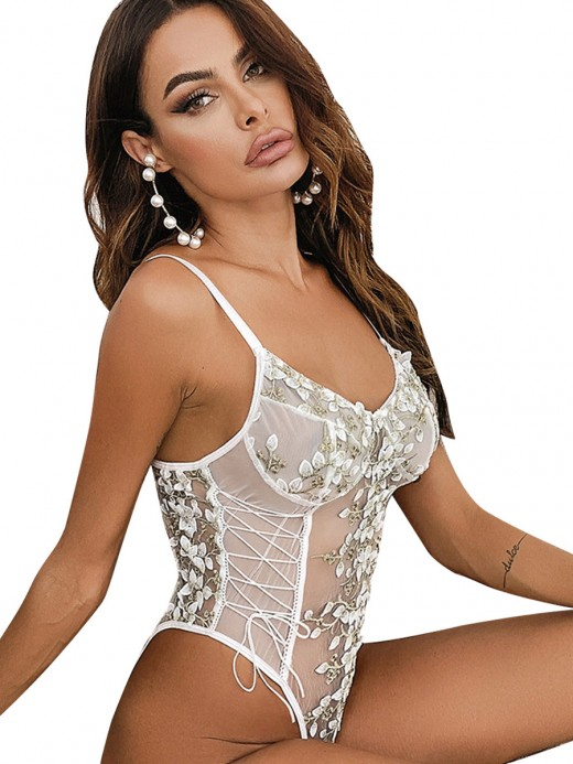 White Open Back Lace Teddy Embroidered Floral Romance Time