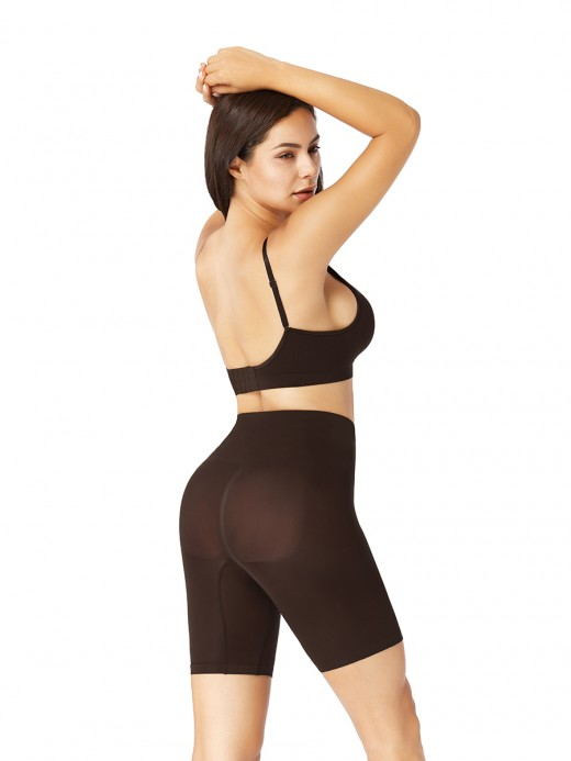 Deep Coffee Push Up Bra Removable Pads Seamless Shapewear Shorts