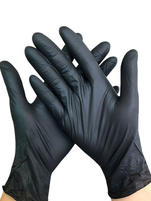 Black 100 Pieces Powder-Free Thickened Gloves Elasticity
